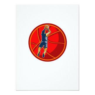 Basketball Player Jump Shot Ball Woodcut retro 5.5x7.5 Paper Invitation Card