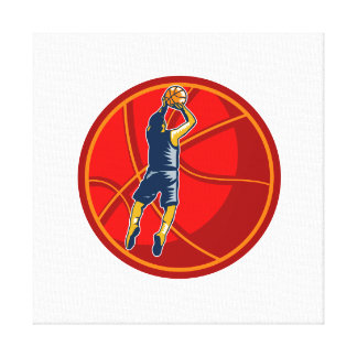 Basketball Player Jump Shot Ball Woodcut retro Stretched Canvas Prints