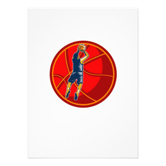 Basketball Player Jump Shot Ball Woodcut retro Personalized Announcement
