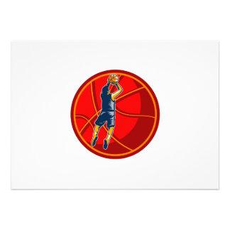 Basketball Player Jump Shot Ball Woodcut retro Personalized Invite