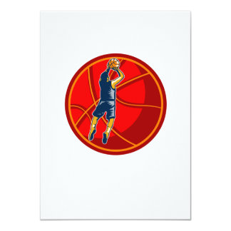 Basketball Player Jump Shot Ball Woodcut retro 4.5x6.25 Paper Invitation Card