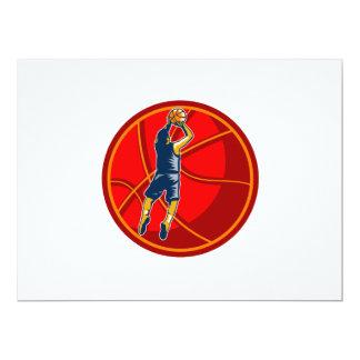 Basketball Player Jump Shot Ball Woodcut retro Invites