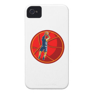 Basketball Player Jump Shot Ball Woodcut retro iPhone 4 Case-Mate Case