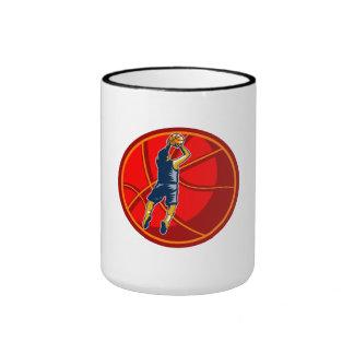 Basketball Player Jump Shot Ball Woodcut retro Coffee Mugs