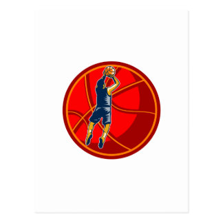 Basketball Player Jump Shot Ball Woodcut retro Postcard
