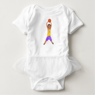 Basketball Player Jumping And Throwing Action Stic Baby Bodysuit