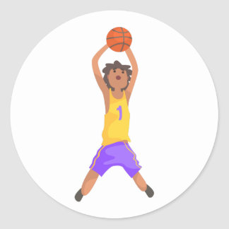 Basketball Player Jumping And Throwing Action Stic Classic Round Sticker