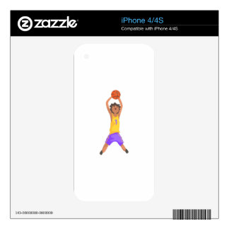 Basketball Player Jumping And Throwing Action Stic Decal For iPhone 4