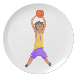 Basketball Player Jumping And Throwing Action Stic Melamine Plate