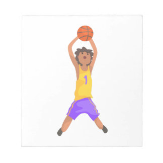 Basketball Player Jumping And Throwing Action Stic Notepad