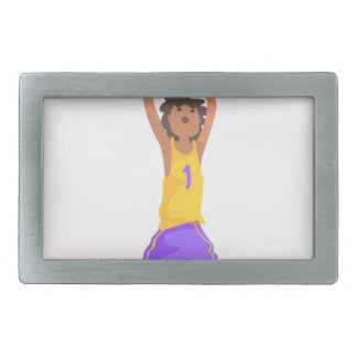 Basketball Player Jumping And Throwing Action Stic Rectangular Belt Buckle