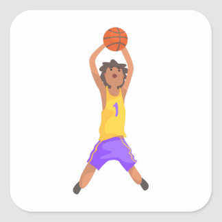Basketball Player Jumping And Throwing Action Stic Square Sticker