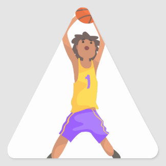 Basketball Player Jumping And Throwing Action Stic Triangle Sticker