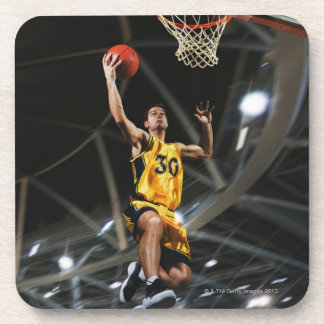 Basketball player  jumping in air beverage coaster