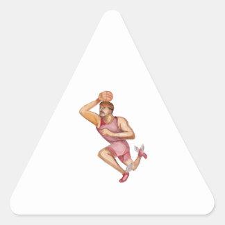 Basketball Player Jumpshot Caricature Triangle Sticker