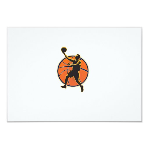 Basketball Player Lay Up Ball 3.5x5 Paper Invitation Card