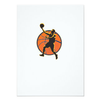 Basketball Player Lay Up Ball 5.5x7.5 Paper Invitation Card