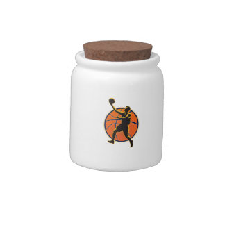 Basketball Player Lay Up Ball Candy Jar