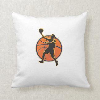 Basketball Player Lay Up Ball Throw Pillow