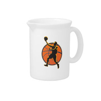 Basketball Player Lay Up Ball Drink Pitcher