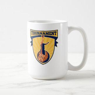 Basketball Player Lay-up Ball Shield Coffee Mugs