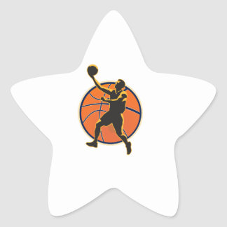 Basketball Player Lay Up Ball Star Stickers
