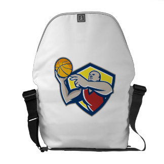 Basketball Player Laying Up Ball Retro Courier Bags