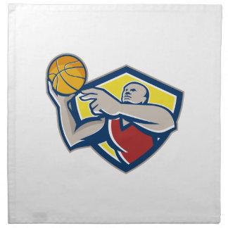 Basketball Player Laying Up Ball Retro Printed Napkin