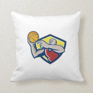 Basketball Player Laying Up Ball Retro Pillows