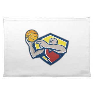 Basketball Player Laying Up Ball Retro Placemat