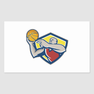 Basketball Player Laying Up Ball Retro Stickers