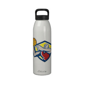 Basketball Player Laying Up Ball Retro Reusable Water Bottle