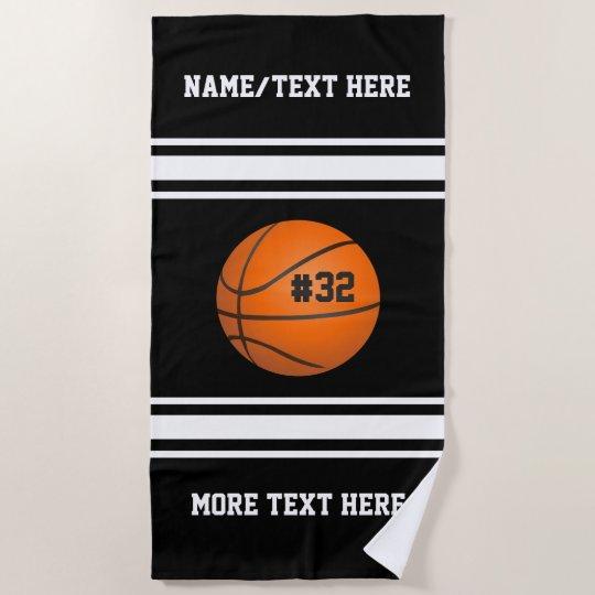 Basketball Player Name Number Team Custom Beach Towel