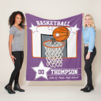 Basketball Player Name School and Jersey Number Fleece Blanket