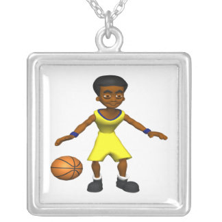 Basketball Player Square Pendant Necklace