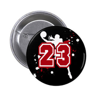 BASKETBALL PLAYER NUMBER 23 PINBACK BUTTON