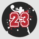 BASKETBALL PLAYER NUMBER 23 ROUND STICKERS