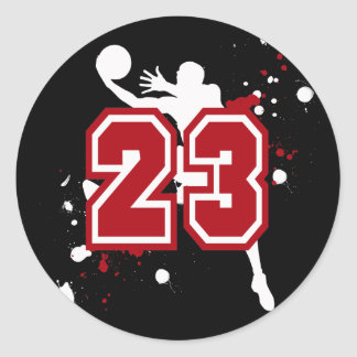 BASKETBALL PLAYER NUMBER 23 CLASSIC ROUND STICKER