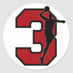 BASKETBALL PLAYER NUMBER 3 CLASSIC ROUND STICKER