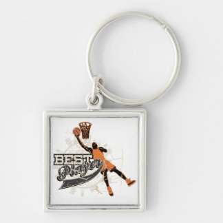 Basketball Player Orange and Gray Keychain