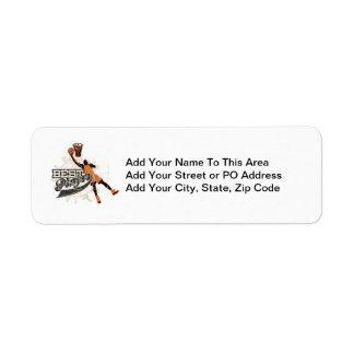 Basketball Player Orange and Gray Return Address Label