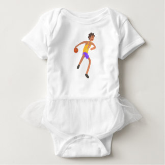 Basketball Player Passing The Ball Action Sticker Baby Bodysuit