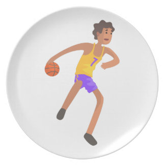 Basketball Player Passing The Ball Action Sticker Dinner Plate