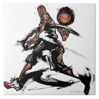 Basketball player playing with basketball ceramic tile