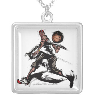 Basketball player playing with basketball silver plated necklace