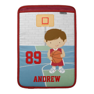 Basketball Player Red and White MacBook Sleeve