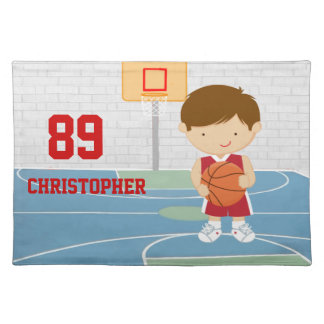 Basketball Player Red and White Placemat