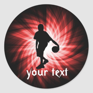 Basketball Player; Red Classic Round Sticker
