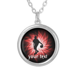 Basketball Player; Red Silver Plated Necklace