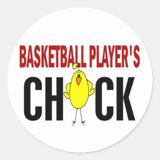 BASKETBALL PLAYER'S CHICK ROUND STICKER